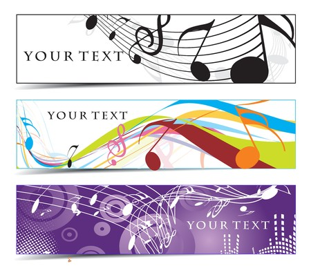 rock music background: Abstract banners on music note