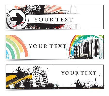 Abstract banners on different urabn city themes  Vector