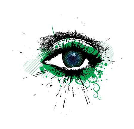abstract grungeontwerp van mooi menselijk oog Vector Illustratie