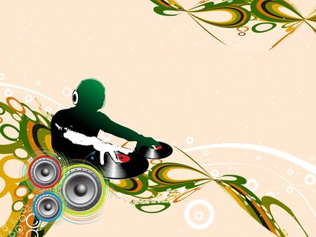 tunes: Abstract illustration of an dj man playing tunes with music note background.