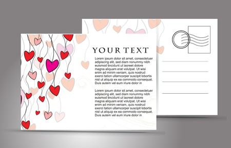 valentineday: empty post card, isolated on illustration background, illustration  Illustration