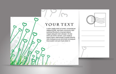valentineday: empty post card, isolated on illustration background,  illustration