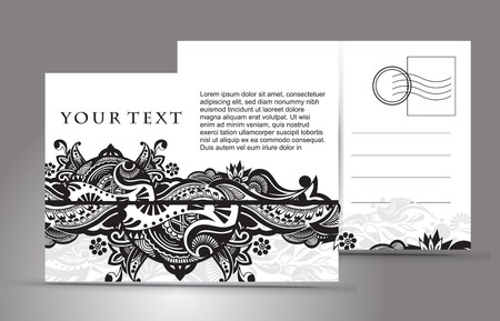backside: empty post card, isolated on illustration background, illustration  Illustration