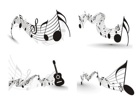gitar: Music notes for design use,  illustration