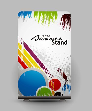 a roll up display with stand banner template design Stock Vector - 7554585