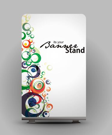 a roll up display with stand banner template design Stock Vector - 7554566