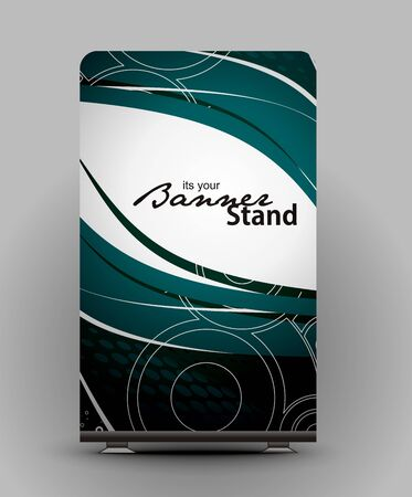 a roll up display with stand banner template design Stock Vector - 7554414
