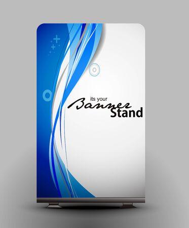 id: un rouleau affichage avec stand banni�re mod�le design Illustration