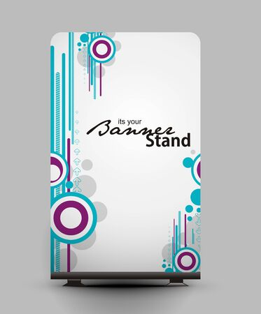 a roll up display with stand banner template design Stock Vector - 7554366