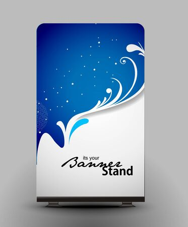 a roll up display with stand banner template design Stock Vector - 7554401