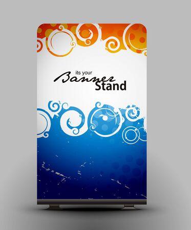 un rollo de pantalla con stand de diseño de la plantilla de banner  Ilustración de vector