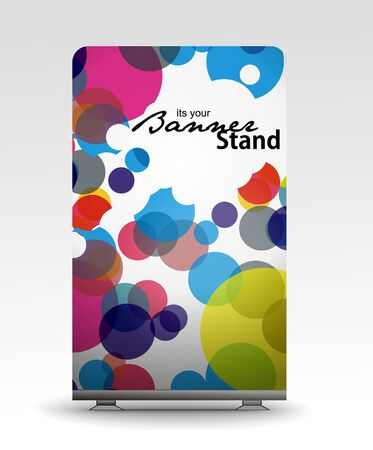 rolup: a roll up display with stand banner template design  Illustration