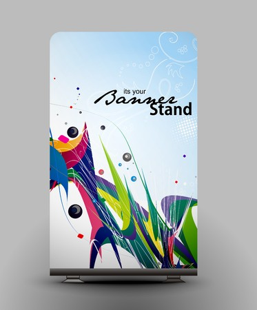 a rolup display with stand banner template design, vector illustration. Stock Vector - 7554594