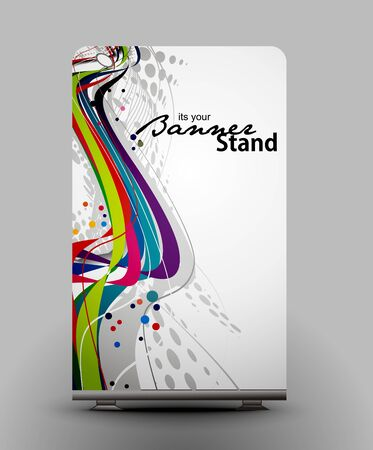 a roll up display with stand banner template design Stock Vector - 7554550
