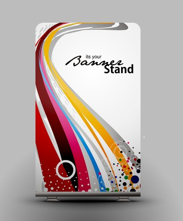 a roll up display with stand banner template design Stock Vector - 7554610