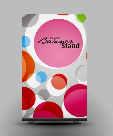 a roll up display with stand banner template design Stock Vector - 7554398