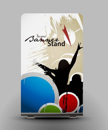 a roll up display with stand banner template design Stock Vector - 7554549