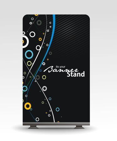 a roll up display with stand banner template design Stock Vector - 7554346
