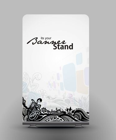a roll up display with stand banner template design Stock Vector - 7554554