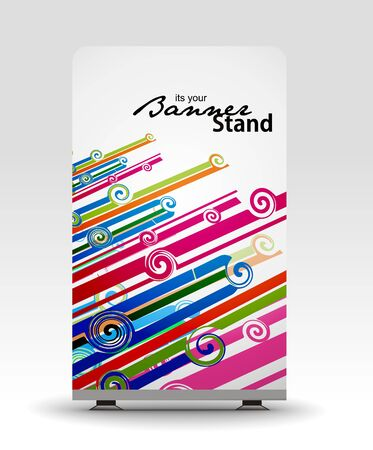 a roll up display with stand banner template design Stock Vector - 7554379