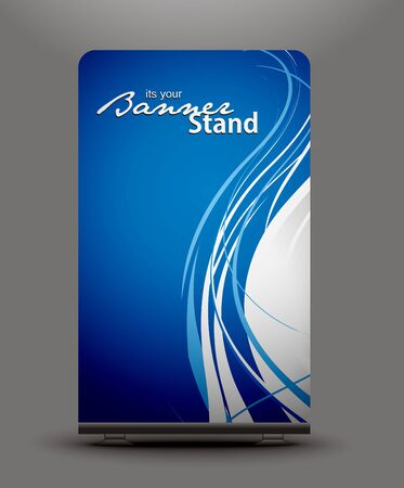 a roll up display with stand banner template design Vector
