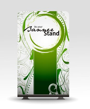 business exhibition: a roll up display with stand banner template design