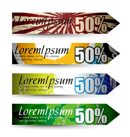 Abstract discount banners on different themes, multi-colored Vector