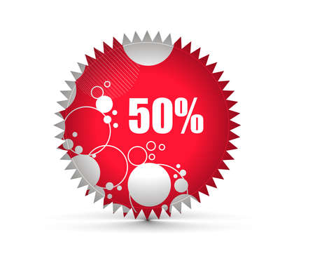 sale tag stickers with 50% discount, illustration Stock Vector - 8055148
