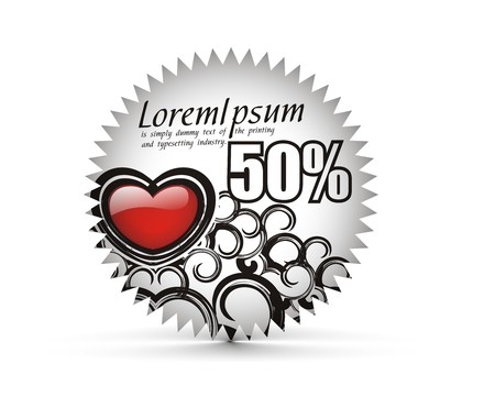 sale tag stickers with 50% discount, illustration  Vector