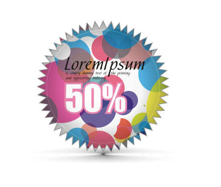 sale tag stickers with 50% discount, vector illustration Stock Illustration - 8113104