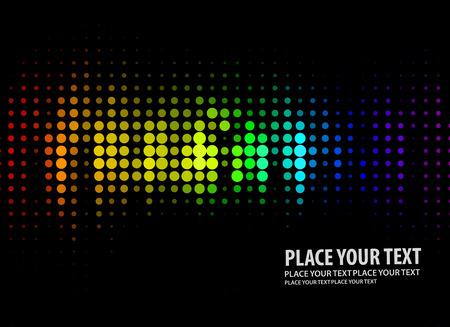 reflejo en espejo: Ilustraci�n del patr�n de puntos de luces de discoteca sobre fondo negro  Vectores