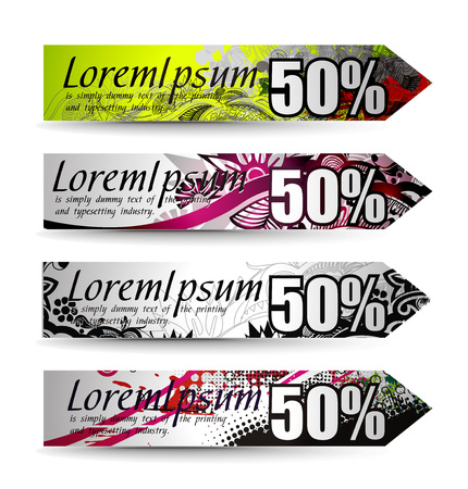 Abstract discount banners on different themes, multi-colored,  illustration.  Stock Vector - 8113710