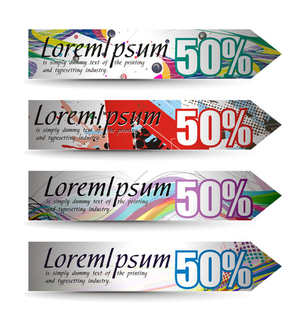 Abstract discount banners on different themes, multi-colored,  illustration. Stock Vector - 8113141