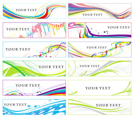 Abstract banners on 12 different themes,  illustration.  Vector