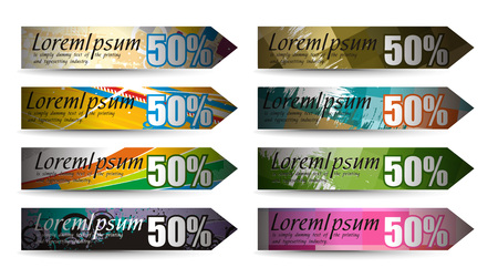 Abstract discount banners on different themes, multi-colored,  illustration.  Vector