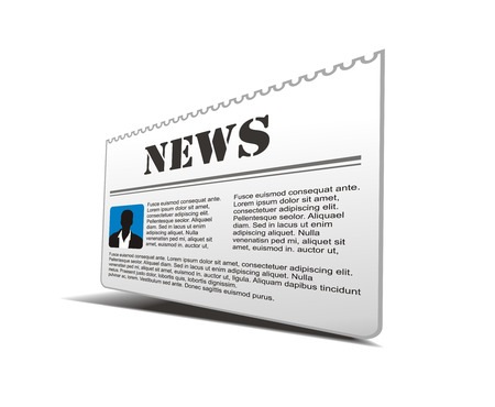 lately news: Illustration of black colored newspaper isolated on white bacground.