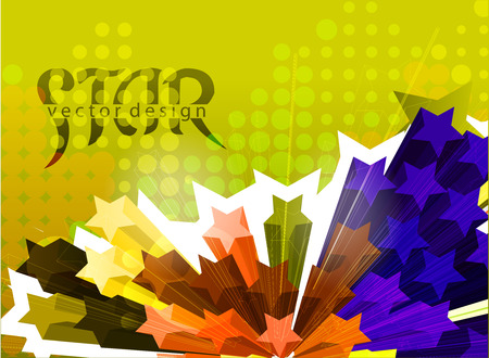 three dimensions: Abstract colorful 3d star element design background.
