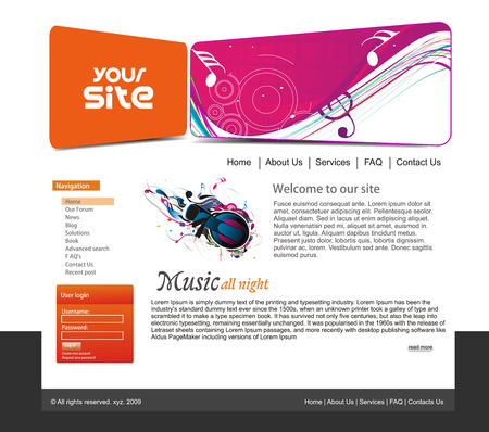 web site design: abstract music web site design template, illustration.