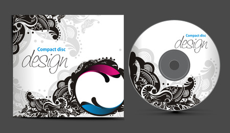 compact disk:   cd cover design template with copy space illustration