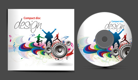compact disk:  music cd cover design template with copy space, illustration