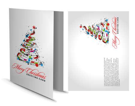 greeting: Christmas greeting card with presentation design. Illustration