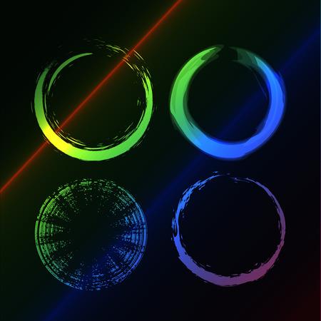 Grunge brushes line circle,   illustration Stock Vector - 8237023