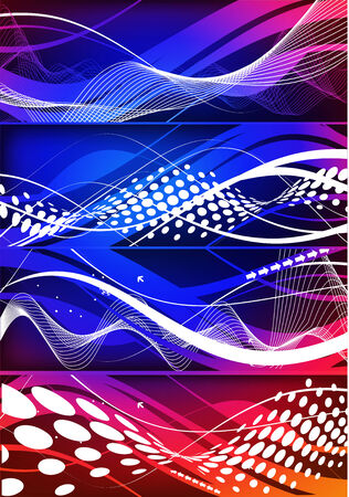 Abstract four different type color wave element backgrounds for design.  Vector