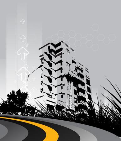 urban grunge: Urban grunge city with sample text background  illustration