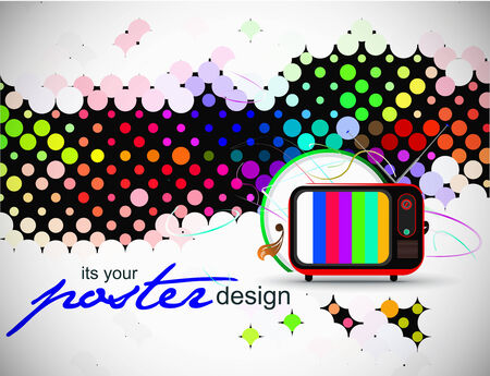 Retro television with wave circle wave background,  illustration Stock Vector - 8237031