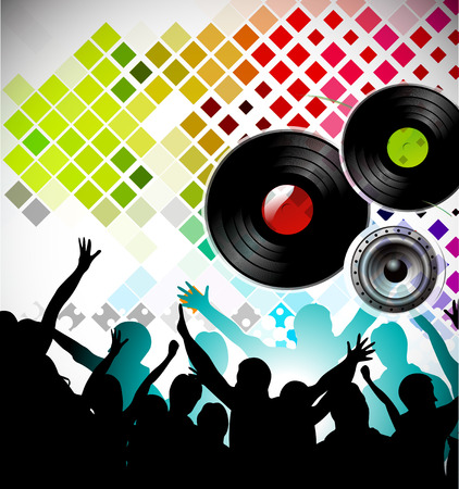 Club party with dancing people and urban music concept background. Vector