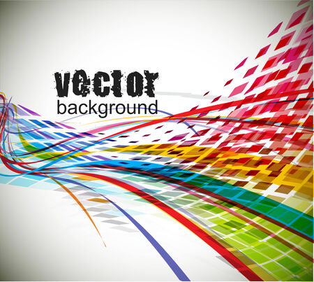 sample text: abstract rainbow wave line with sample text background.