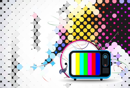 broadcasting: Retro television with wave circle wave background, illustration  Illustration