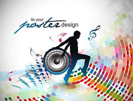music banner: een jonge man tekende genieten van muziek in kleurrijke achtergrond. Stock Illustratie