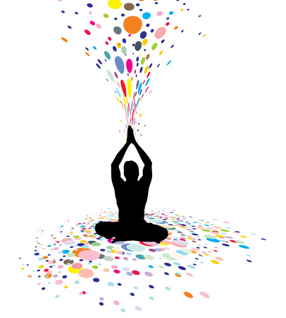 A young man doing yoga silhouette in creating a nature power, illustration
